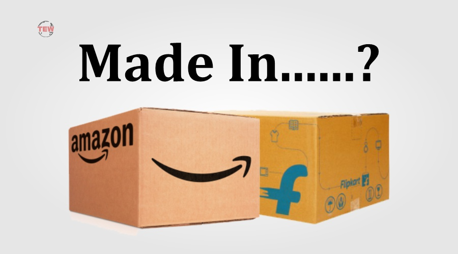 in image amazon and flipkart written on each two box for Country of origin campaign.