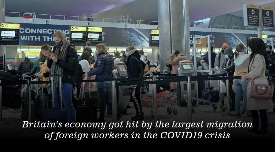 Britain's economy got hit by the largest migration of foreign workers in the COVID19 crisis.